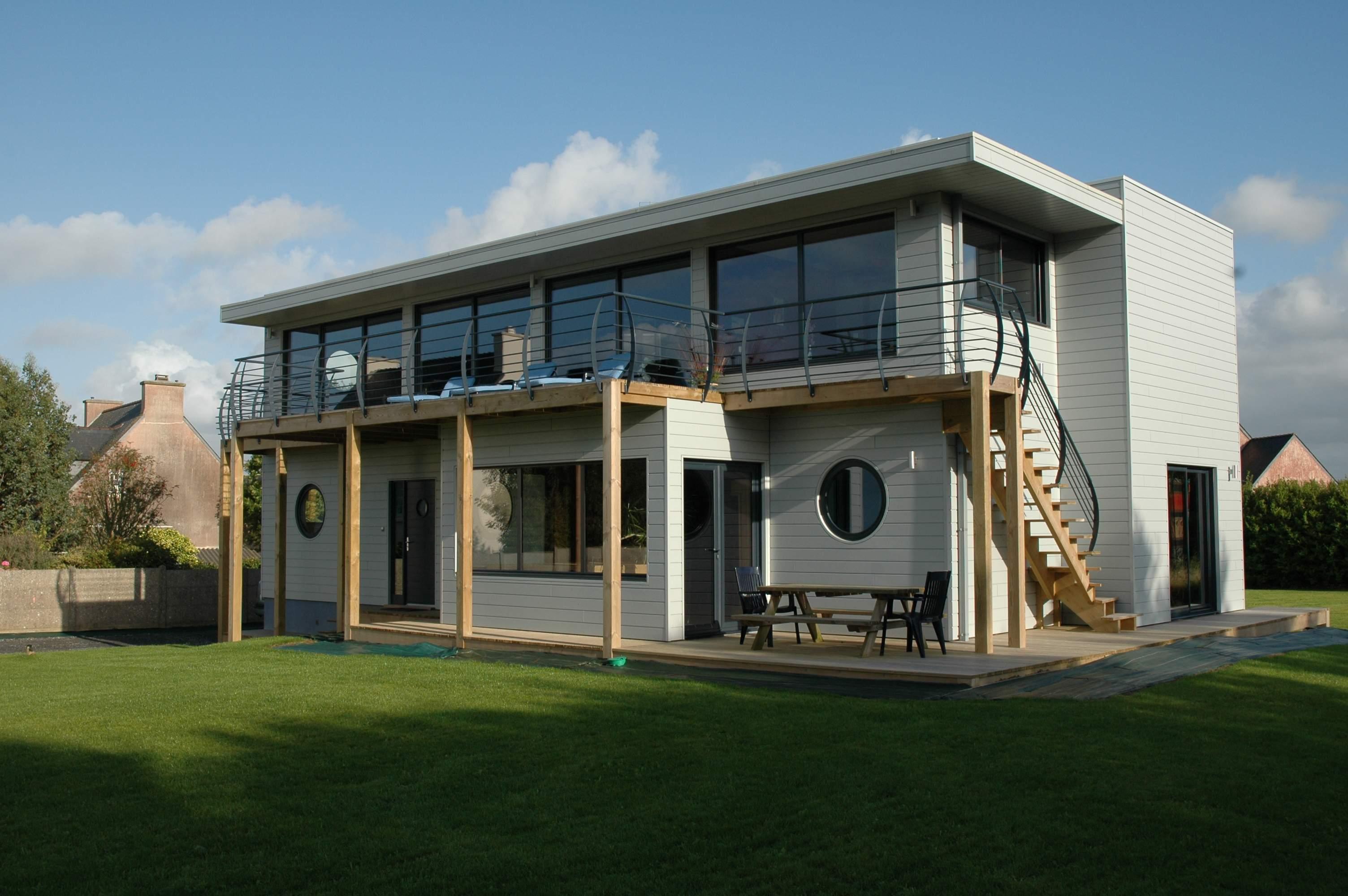 construction maisons bois GLV : étage toit plat