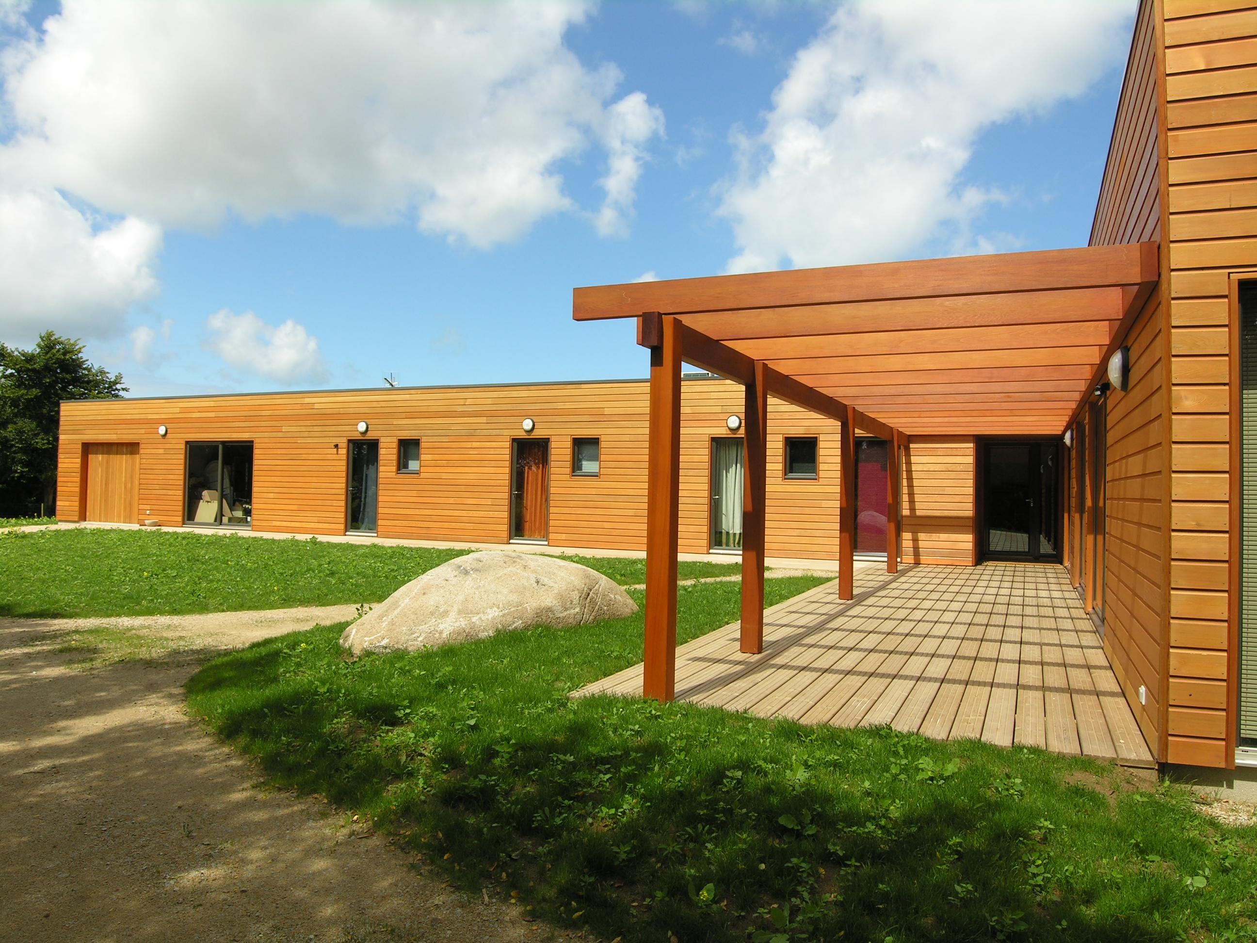 Construction maison en bois plain pied toit plat & mono pente membrane
